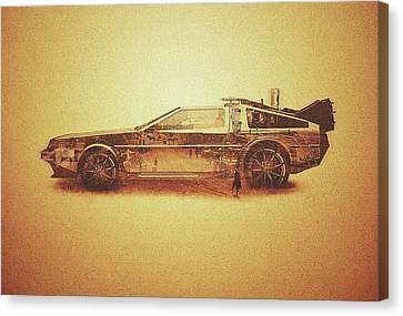 Lost In The Wild Wild West Golden Delorean Doubleexposure Art Canvas Print by Philipp Rietz