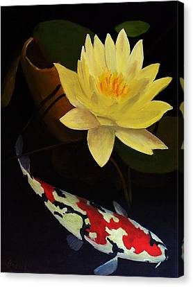 Lotus And Koi- Plant And Animal Painting Canvas Print by Glenn Ledford