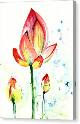 Lotus Opening Flower With Buds Canvas Print by Tiberiu Soos