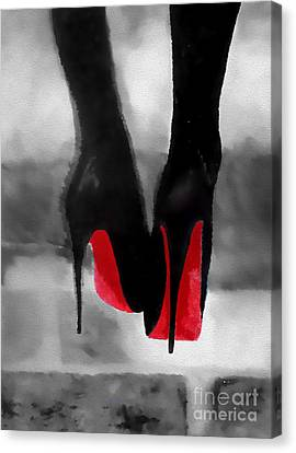 Louboutin At Midnight Black And White Canvas Print by Rebecca Jenkins