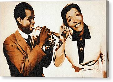 Louis Armstrong And Billie Holiday Canvas Print by Ian Gledhill