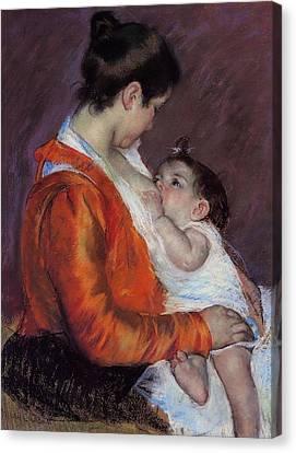Louise Nursing Her Child Canvas Print by Marry Cassatt