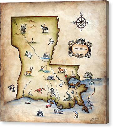 Louisiana Map Canvas Print by Judy Merrell