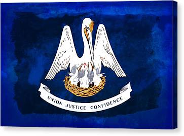 Louisiana State Flag Distressed Canvas Print by Daniel Hagerman