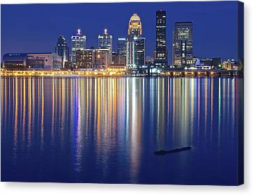 Louisville During Blue Hour Canvas Print by Frozen in Time Fine Art Photography