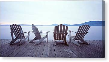 Lounge Chairs Moosehead Lake Me Canvas Print by Panoramic Images