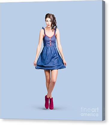 Lovable Eighties Female Pin-up In Denim Dress Canvas Print by Jorgo Photography - Wall Art Gallery