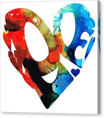 Love 8 - Heart Hearts Romantic Art Canvas Print by Sharon Cummings