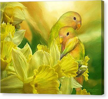 Love Among The Daffodils Canvas Print by Carol Cavalaris
