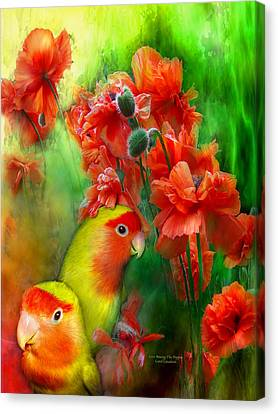 Love Among The Poppies Canvas Print by Carol Cavalaris