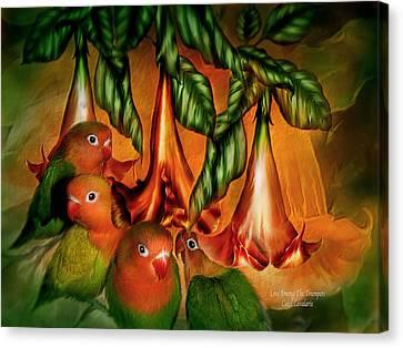 Love Among The Trumpets Canvas Print by Carol Cavalaris