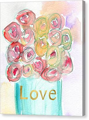 Love And Roses- Art By Linda Woods Canvas Print by Linda Woods