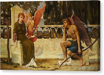 Love And Time Canvas Print by John Melhuish Strudwick