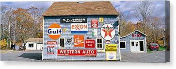 Love Barn With Road Signs, Orland, Maine Canvas Print by Panoramic Images