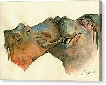 Love Between Hippos Canvas Print by Juan  Bosco