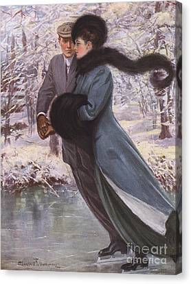 Love Laughs At Winter Canvas Print by Clarence F Underwood