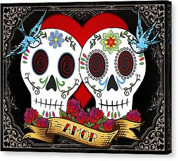 Love Skulls II Canvas Print by Tammy Wetzel