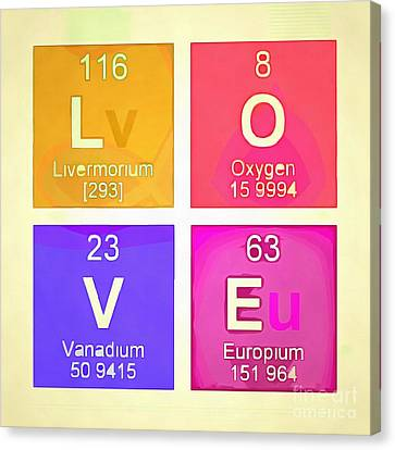 Love Square Periodic Table Elements Canvas Print by Edward Fielding