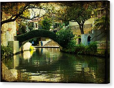 Lovely Day In The Riverwalk Canvas Print by Iris Greenwell