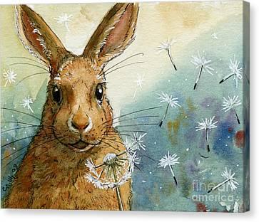 Lovely Rabbits - With Dandelions Canvas Print by Svetlana Ledneva-Schukina