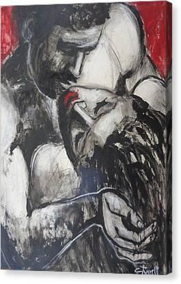 Lovers - Hot Night Canvas Print by Carmen Tyrrell