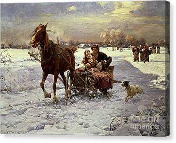 Lovers In A Sleigh Canvas Print by Alfred von Wierusz Kowalski