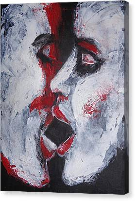 Lovers - Kiss In Ebony  Canvas Print by Carmen Tyrrell