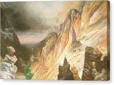 Lower Falls, Grand Canyon Of The Yellowstone River Canvas Print by Charles H Chapin