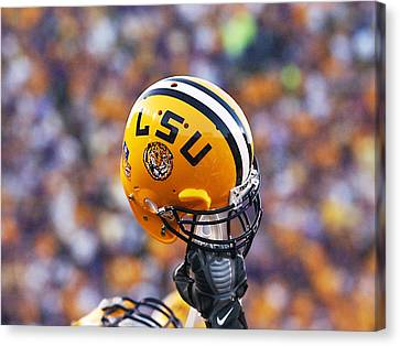 Lsu Helmet Raised High Canvas Print by Louisiana State University