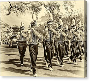 Lsu Tigers Band 5 - Sepia Canvas Print by Steve Harrington