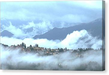 Lucca In The Fog Canvas Print by Winston Moran