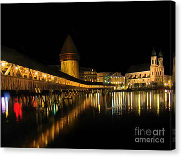 Lucerne Night Beauty II - Painting Canvas Print by Al Bourassa