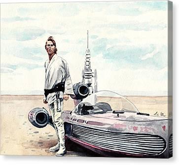 Luke Skywalker On Tatooine Star Wars A New Hope Canvas Print by Laura Row