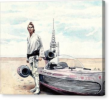 Luke Skywalker On Tatooine Star Wars A New Hope Canvas Print by Laura Row