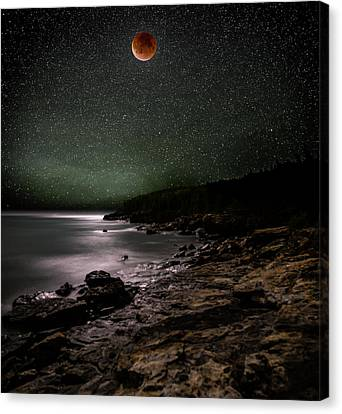 Lunar Eclipse Over Great Head Canvas Print by Brent L Ander