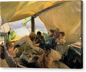 Lunch On The Boat Canvas Print by Joaquin Sorolla y Bastida