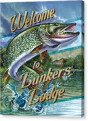 Lunkers Lodge Sign Canvas Print by Jon Q Wright