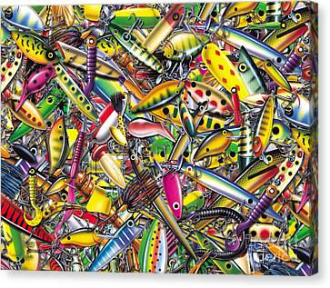 Lure Collage Canvas Print by Jon Q Wright