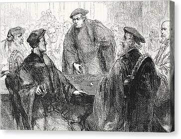 Luther And Zwingle Discussing At Marburg Canvas Print by English School