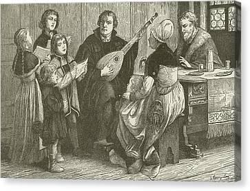 Luther In The Midst Of His Family Canvas Print by American School