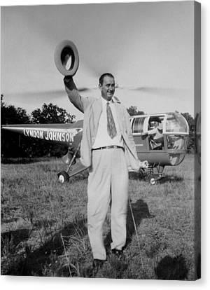 Lyndon Johnson Campaigning Canvas Print by Everett