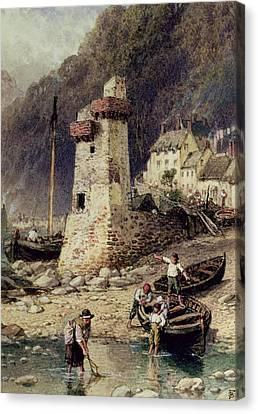 Lynmouth In Devonshire Canvas Print by Myles Birket Foster