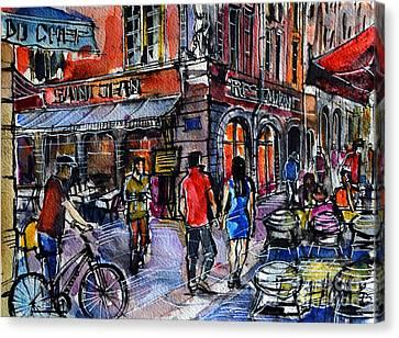 Lyon Cityscape - Street Scene #03 - Rue Saint Jean Canvas Print by Mona Edulesco