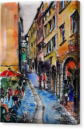 Lyon Cityscape - Street Scene #04 - Rue Du Boeuf Canvas Print by Mona Edulesco