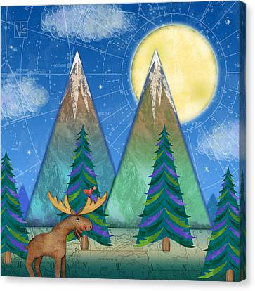 M Is For Mountains And Moon Canvas Print by Valerie Drake Lesiak