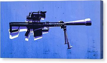 M82 Sniper Rifle On Blue Canvas Print by Michael Tompsett