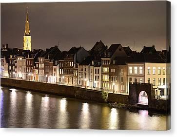 Maas River At Night Canvas Print by Carol Vanselow