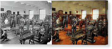 Machinist - The Standard Way 1915 - Side By Side Canvas Print by Mike Savad