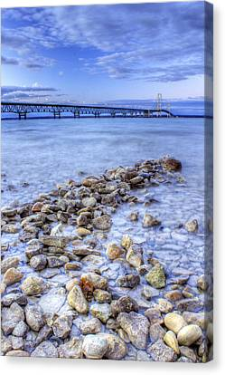 Mackinac Bridge From The Beach Canvas Print by Twenty Two North Photography