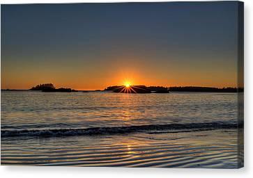 Mackinsie Beach Sun Burst Canvas Print by Mark Kiver